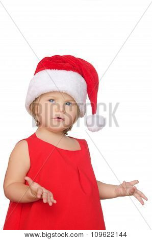 Surprised Little Girl In Christmas Cap