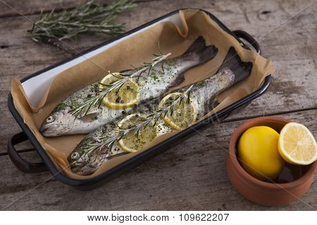 Two raw trouts fish on the baking dish