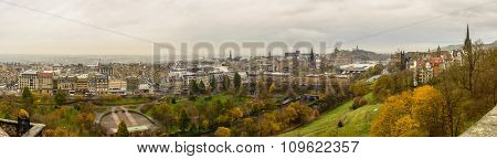 EDINBURGH, SCOTLAND - CIRCA NOVEMBER 2012: Panoramic view of the city from the castle.