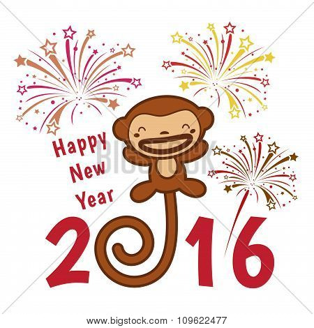 Happy  new year 2016 card is  cute monkey and firework