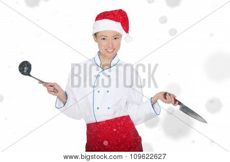 Asian Chef In Christmas Cap With Container Under Snow