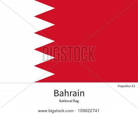 National flag of Bahrain with correct proportions, element, colors