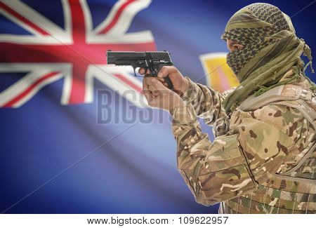 Male In Muslim Keffiyeh With Gun In Hand And National Flag On Background - Turks And Caicos Islands