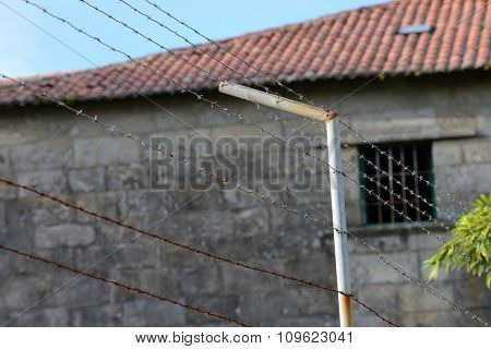 barbed wire of prison fence