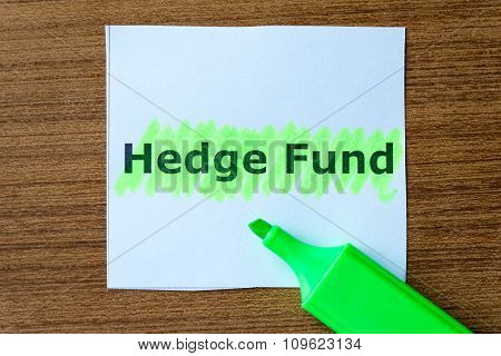 Hedge Fund Word Hightlighted