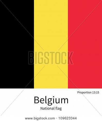 National flag of Belgium with correct proportions, element, colors