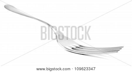 Fork, sharp shiny stainless steel cutlery isolated on white
