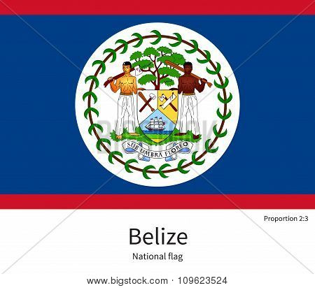 National flag of Belize with correct proportions, element, colors