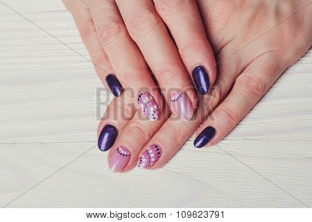 Nail Art With Purple And Pink Colors