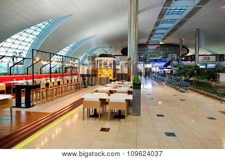 DUBAI, UAE - NOVEMBER 16, 2015: interior of Dubai Airport. Dubai International Airport is the world's busiest airport by international passenger traffic.