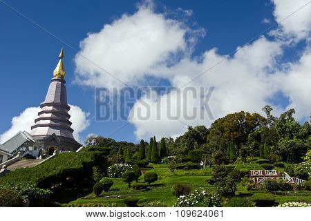 Buddha's relic on Inthanon mountain with garden view in the front and cloudy sky