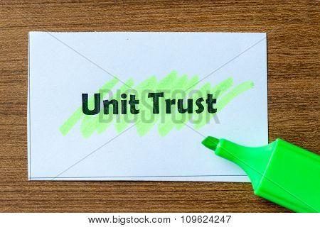 Unit Trust Word Hightlighted
