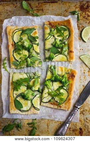 Puff Pie With Zucchini, Broccoli And Green Peas.