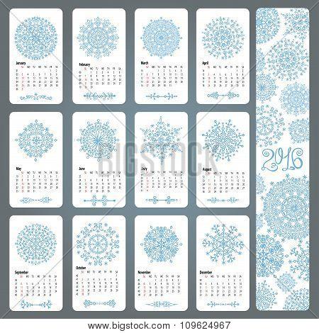 Calendar 2016.Snowflakes shapes,mandala