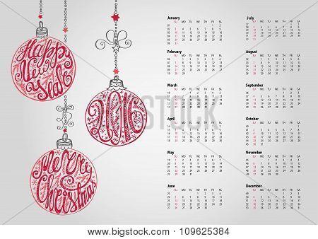 Calendar 2016.Christmas ball,letterin.Grey