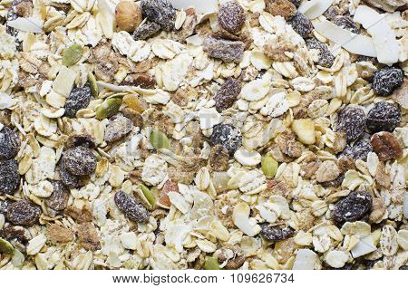 Cereal background consist of musli grapes. breakfast and abstract background
