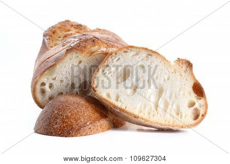 Great Bread Cut Pieces Placed On White Background.