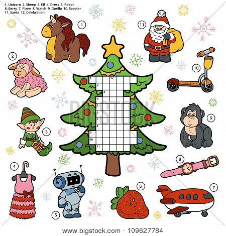 Vector Crossword, Education Game For Children About Christmas Presents