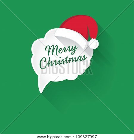 Abstract Vector White Speech Bubbles with text Merry Christmas
