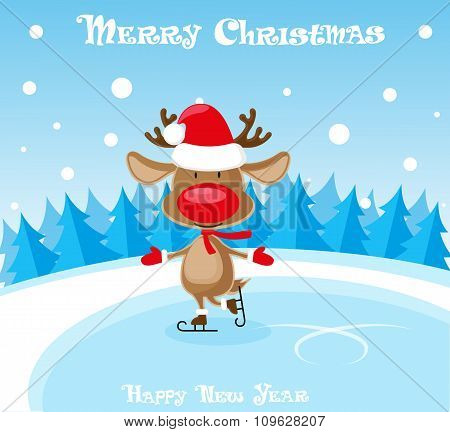 Vector Banner Funny Deer In Santa Claus Hat And Skates At The Ice Rink On Blue Background