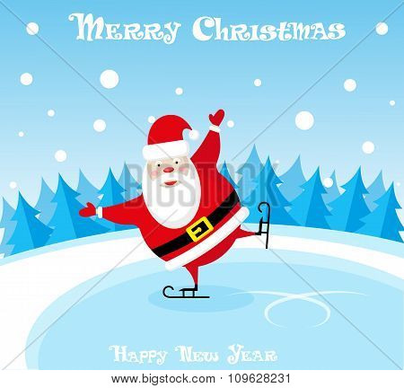 Vector Banner Funny Santa Claus In Skates At The Ice Rink On Blue Background