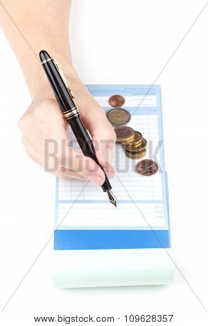 Receipt Book Fountain Pen And Coin