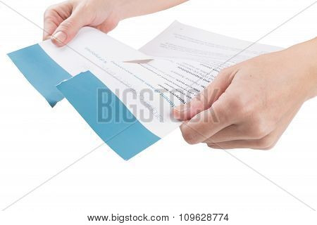 Female Hands Break Employment Contract