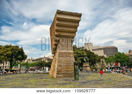 BARCELONA, SPAIN - MAY 01: Monument to Francesc Macia, Former President and Officer in Spanish Army, in Placa de Catalunya, Barcelona, Spain. May 01, 2015