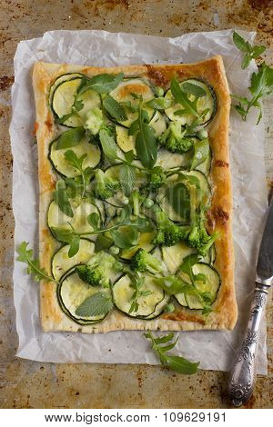 Vegetarian Puff Pie With Zucchini, Broccoli And Green Peas.