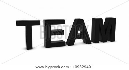Team Black 3D Text Isolated On White With Shadows