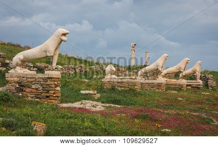 Lion Statues At The Archaeological Island Of Delos