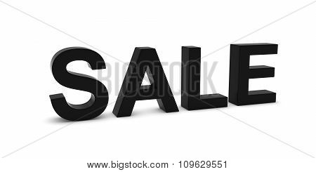 Sale Black 3D Text Isolated On White With Shadows