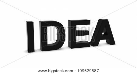 Idea Black 3D Text Isolated On White With Shadows