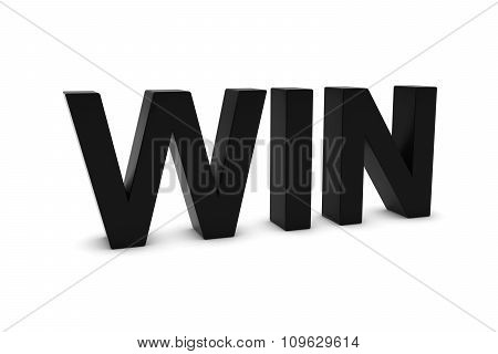 Win Black 3D Text Isolated On White With Shadows