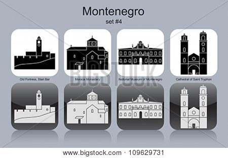 Landmarks of Montenegro. Set of monochrome icons. Editable vector illustration.