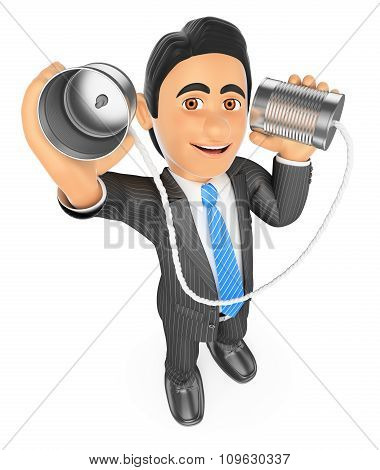 3D Businessman Speaking Through A Can. Communication Concept
