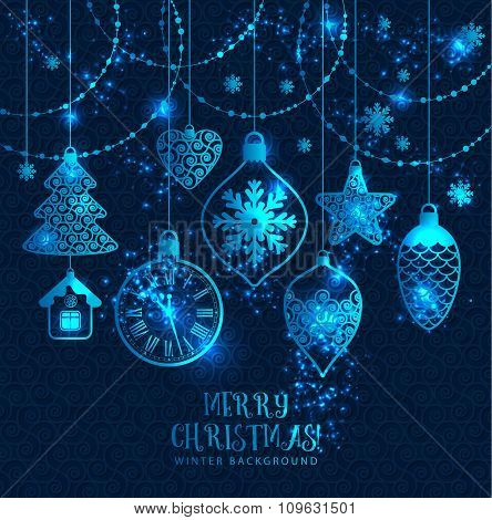 New Year's Greeting Card Merry Christmas. Bright New Year's Toys On A Blue Background With Snowflake