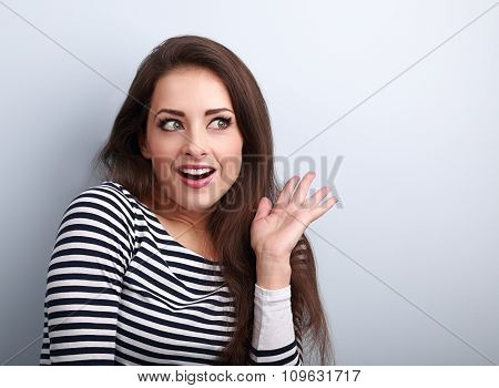 Excited Beautiful Woman Surprising And Looking. Woman With Open Mouth And Gesturing Hand