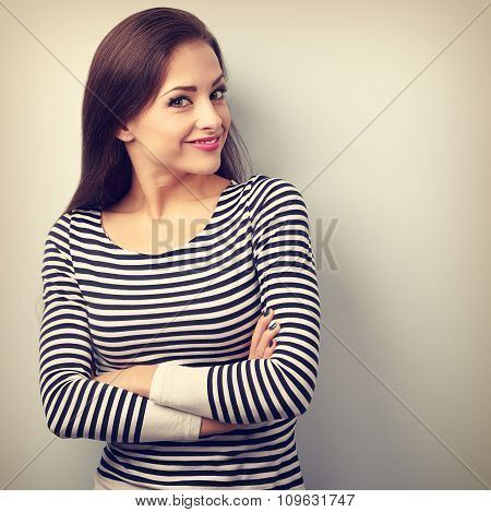 Beautiful Happy Casual Woman With Folded Hand Looking With Smiling