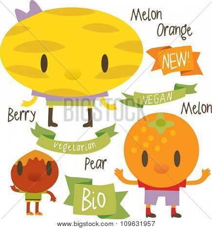 vector isolated cartoon comic amusing collection of fruits and vegetables for books, apps, labels, stickers: melon, orange, nut