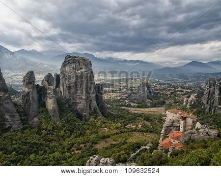 View of the valley from the mountain tops of Meteora in Greece