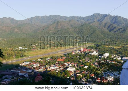 View Of Mae Hong Son City In Northern Thailand With Runway Of Airport
