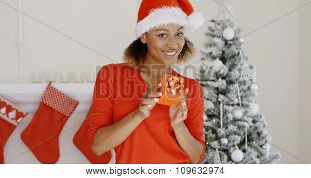Lovely young woman dressed in a red Santa hat standing in front of a decorated Xmas tree and chimney holding a Christmas gift smiling at the camera.