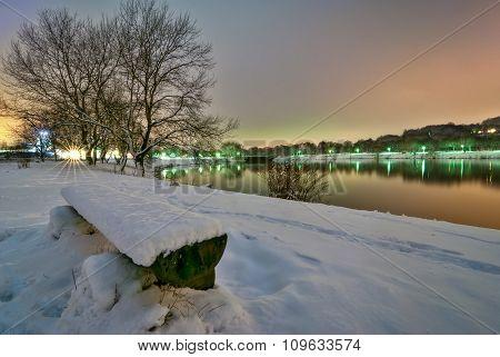 View Of Kemnade Lake During Winter