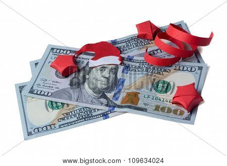 Bank Note With Santa Claus Isolated On White