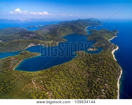 Aerial view of Big Lake with Monastery of Saint Mary, Croatia.