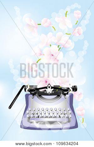 Retro Typewriter With Cherry Blossoms