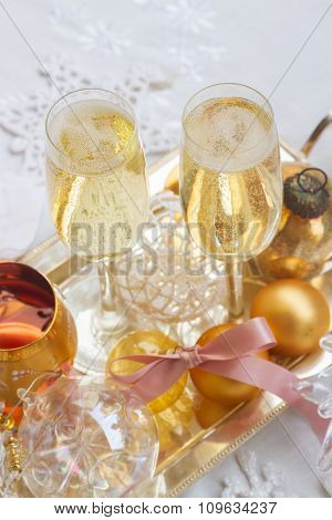Christmas champagne glasses