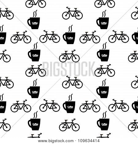 Coffee And Bike Seamless Pattern.