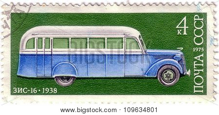 Ussr - Circa 1975: A Stamp Printed In The Ussr Shows Soviet Automobile Car Zis - 16, 1938, Series, C